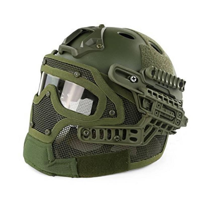 Alexsport PJ Type Casque tactique avec masque et lunettes de protection - Installation rapide avec molette - Pour airsoft/paintball/Jeux Counter Strike de la marque Alexsport TOP 3 image 0 produit