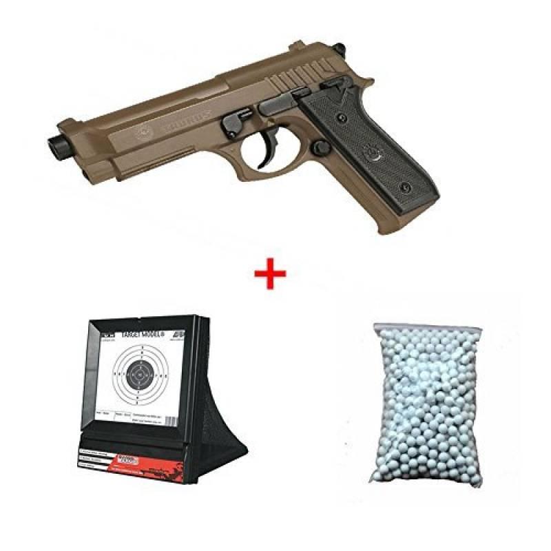 Pack Cadeau Cybergun Taurus PT92 / M9 Désert Marquage Officiel Ressort Culasse Metal avec sa Cible de tir et 600 billes de la marque CyberGun TOP 3 image 0 produit