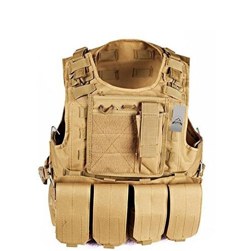 Anzer Gilet tactique militaire Molle avec 4 pochettes amovibles Porte plaque - équipement pour Chasse Airsoft Survie Aventure de la marque Anzer TOP 4 image 0 produit